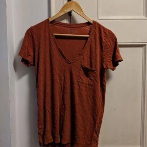 madewell whisper cotton v-neck pocket tee xs rust